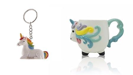 Unicorn Mug Bundle With Novelty Unicorn Rainbow Resin Keyring