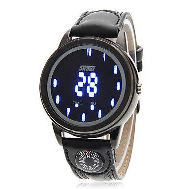 Qfdzhs® Sudadera con LED azul Brújula digital función Correa de piel sport Reloj de pulsera: Amazon.es: Relojes
