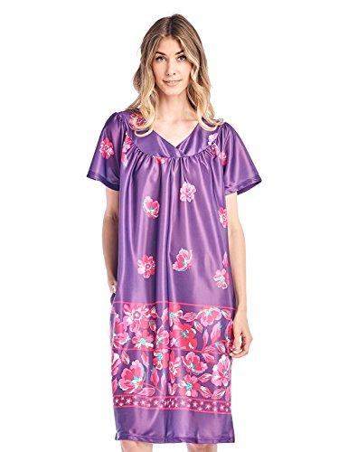 (Casual Nights Women's Short Sleeve Muumuu Lounger Dress - Grape -)