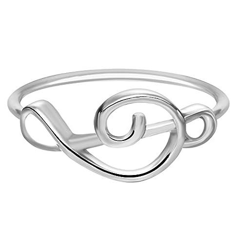 Qiandi Women's Musical Note Ring Minimalist Jewelry Birthday Music Lovers Gift for Girls (Elegant Music Rings)