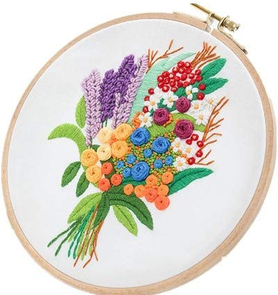 (Embroidery Kit for Beginner Flower Design DIY Home Wall Decor Sweet Love)