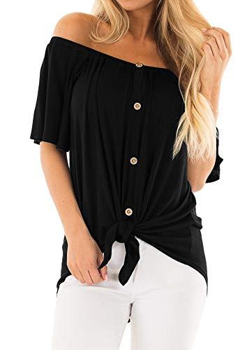 (EZBELLE Women's Off Shoulder Blouse Short Sleeve Loose Plain Button Down Shirts Tunic Tops Black Large)