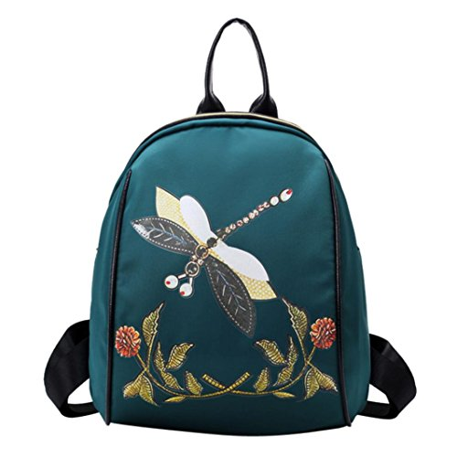 Bags,AIMTOPPY Women's Chinese style Dragonfly print fashion Backpack (Green)