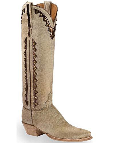 Lucchese Women's Handmade Calf Hair Danielle Tall Cowgirl Boot Pointed Toe Natural 7 M US