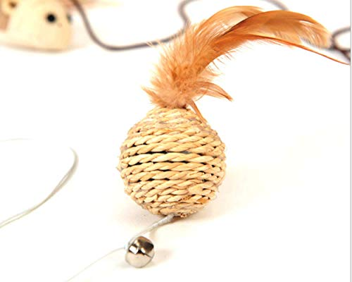 Eudally Cat Teaser Cat Toy Handmade Rattan Plait CuteBall with Feather and Small Ball Wooden Handle can Well Stimulate Cats' Playful Nature ()