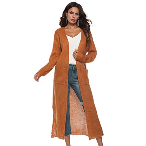 n Coat Women, Pockets Sweater Ladies Knitting Cotton Cardigan Jacket Outerwear (S, Brown-3) ()