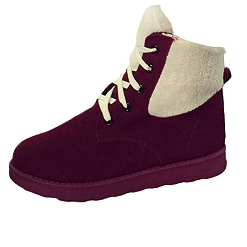 f840f9a970d07 UOKNICE Women's Winter Keep Warm Flat Shoes Round Toe Lace-up Martin Short  Snow Boots(Wine, CN 36(US 5.5))