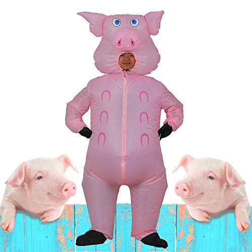 Last Second Halloween Costumes Funny (Inflatable Pig Costume Adult for Halloween Party Outdoor Event (Pink)
