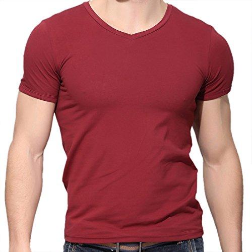 hombres para en para ocasionales manga de camiseta Camiseta corta corta manga con deportivos tinto hombre Vino V de cuello Xp6qnf0A