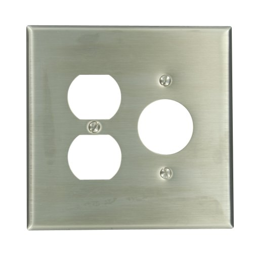 Leviton 84146-40 2-Gang 1-Duplex 1-Single 1.406-Inch Diameter, Device Combination Wallplate, Oversized, Device Mount, Stainless (Single Gang Stainless Steel Faceplate)