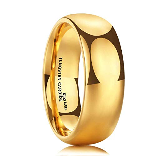 (King Will Glory Men's 8mm Tungsten/Titanium Carbide Ring 24k Gold Plated Domed Polished Finish Wedding Band (Tungsten, 5.5))