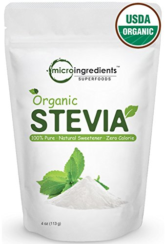 Premium Pure Organic Stevia Powder, 4oz / 706 Serving - Zero Calorie, Natural Sweetener, Sugar Alternative. Non-Irradiated, Non-Contaminated, Non-GMO and Vegan Friendly. -