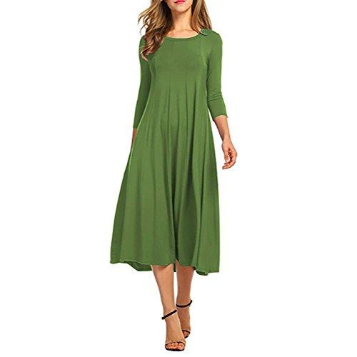 JET-BOND Womens High Waist Swing Dress 3/4 Long Sleeves T-Shirt Midi dress Jersey Maternity Cloth FS75 (XL, Green) (Jersey Empire Waist Maternity)