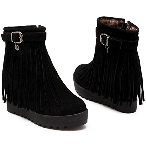 Tassel Boots Black Women Zipper Heel Coolcept Hidden twxOCqTI