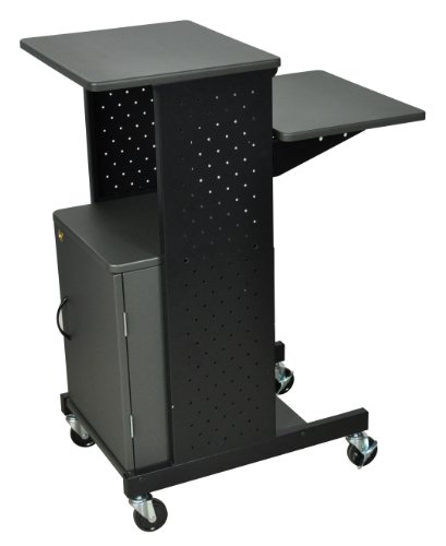 LUXOR PS4000C 4 Shelf Mobile Presentation Station with Cabinet, Gray