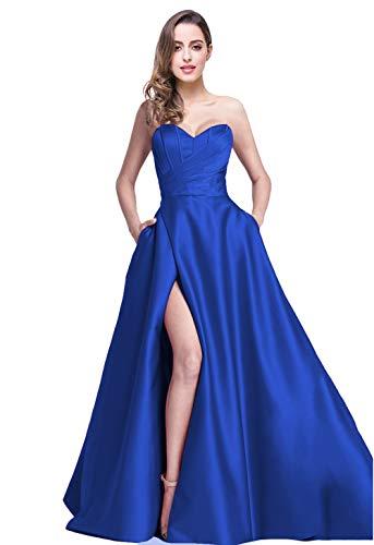jicjichos Women's Sweetheart Strapless Evening Dresses Satin High Slit with Pocket Long Prom Dress J212 Size 8 Royal Blue ()