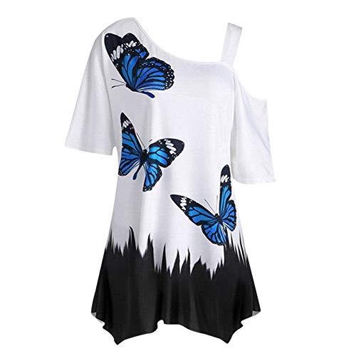 Camiseta De Túnica para Mujer, Sexy, con Un Hombro, con Estampado De Mariposa, Manga Corta Suelta (Negro, L)