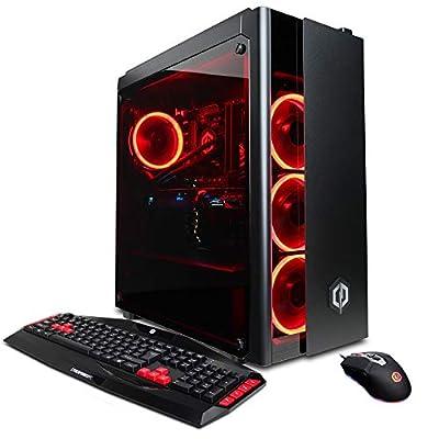 CYBERPOWERPC PC Desktop (Liquid Cooled i7-8700K 3.7GHz, Z370 Motherboard, 16GB DDR4, NVIDIA GeForce RTX 2080 8GB, 240GB SSD, 1TB HDD, 802.11AC WiFi & Win 10) Black