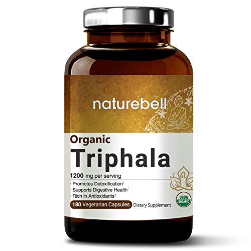 NatureBell Organic Triphala Capsules 1200mg, 180 Veg Capsules, Powerfully Supports Digestive Health & Detoxification, Rich in Antioxidants & Vitamins, Non-GMO, Vegan Friendly and Made in USA