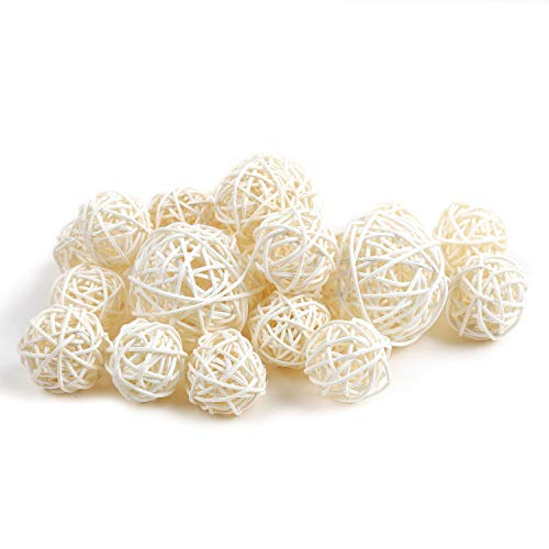 Christmas Decorative Ball - Qingbei Rina Wicker Rattan Balls Bag, Garden, Wedding, Party Decorative Crafts, House Ornaments, Vase Fillers Decorative Orbs Natural Spheres Christmas Tree. Set of 18. (Natural White)