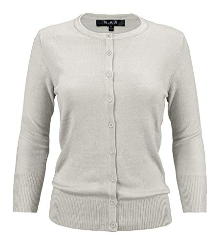 YEMAK Women's 3/4 Sleeve Crewneck Button Down Knit Cardigan Sweater CO079-LGR-M Light Grey