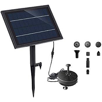 Lewisia Battery Backup Solar Fountain Pump with LED Lighting for Pool Koi Pond Garden Bird Bath Submersible Solar Water Pump Kit 5W