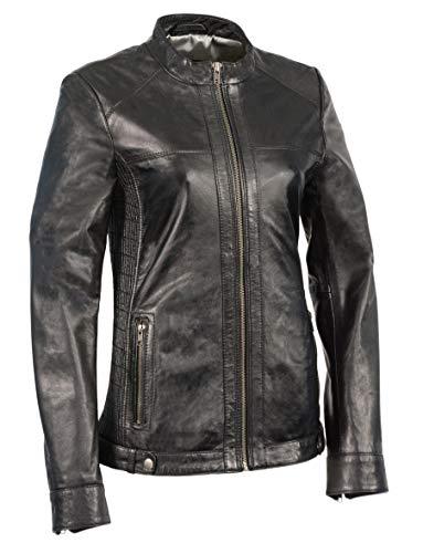 M-BOSS-Woman's Zip Front Scuba w/Side Stretch Fitting-Black-XS ()