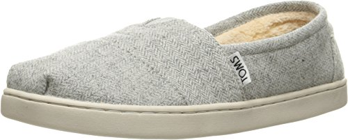 (TOMS Kids' Shearling Slip-On Sneaker - Grey Herringbone)