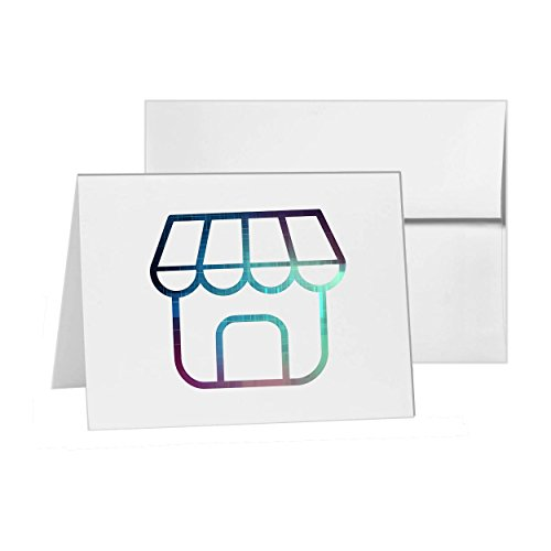 Shop Mall Shopping Store Fron, Blank Card Invitation Pack, 15 cards at 4x6, Blank with White Envelopes Style - White Stores At Plains Mall