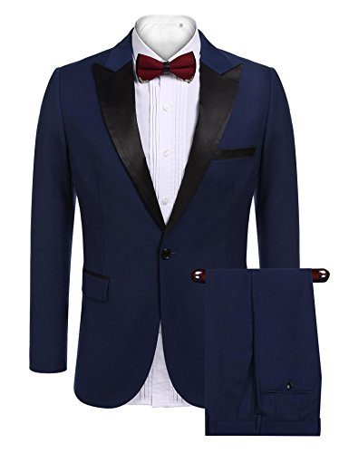 COOFANDY Mens Slim Fit 2 Piece Dress Suit One Button Tuxedo Blazer Jacket & Pants Set For Wedding Party Prom,Blue,Large for $<!--$77.99-->