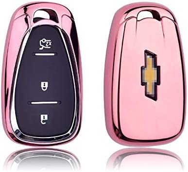GEERUI CompatibleChevrolet Key Fob Case Shell Cover TPU Protector Holder for Chevrolet Chevy 2020 2019 2018 2017 2016 Malibu Camaro Cruze Traverse Spark Equinox Sonic Volt Bolt (Pink)
