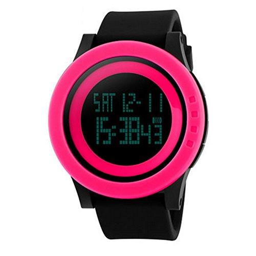 (025 KTYX Simple Sports Watch Hong Kong Style Electronic Watch Luminous Waterproof Multi-Function Watch Student Men and Women Table Digital Smart Watch (Color : Pink Circle Black Belt))
