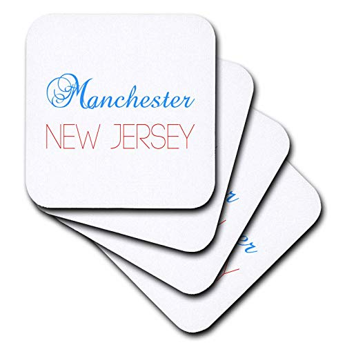 3dRose Alexis Design - American Cities New Jersey - Manchester, New Jersey, red, blue text. Patriotic home town design - set of 8 Ceramic Tile Coasters (cst_300855_4)