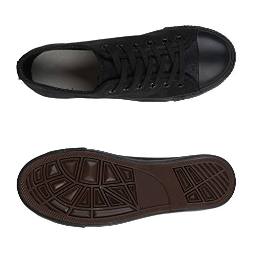 4086eadb97a8 ... Stiefelparadies Glitzer Damen Sneakers Sneaker Low Metallic Schnürer  Denim Flats Turnschuhe Sportschuhe Flandell Schwarz Schwarz Glatt