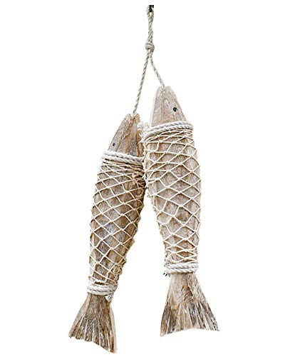 Set of 2 Handcrafted Hanging Wooden Fish Nautical Ornaments Antique Home Wall Decor Nautical Gift for Beach Lovers (12.5'' L (Carved The Walls On)