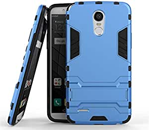 LG Stylus 3 Armor Hard PC Soft Silicone Case With Stand - Sky Blue