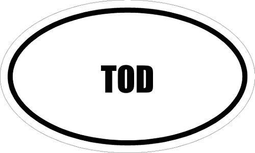 "Price comparison product image 6"" printed TOD name oval Euro style vinyl decal sticker"