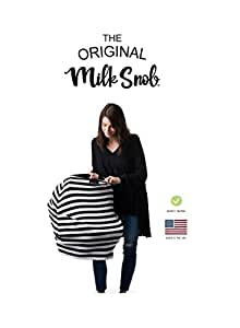 AS SEEN ON SHARK TANK The Original Milk Snob Infant Car Seat Cover and Nursing Cover Multi-Use 360° Coverage Breathable Stretchy B&W Signature Stripes