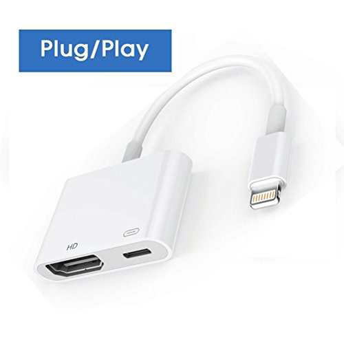 Lightning to HDMI Cable Adapter, Lightning to HDMI, Plug and Play 1080P Audio AV Connector with Charging Port for iPhone - Hdmi To Cable Lightning