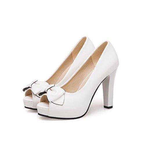 De Eu38 Pescado De Calidad SHOESHAOGE Pajarita Heeled High Gruesos Blanco con Zapatos De Sandals Zapatos EU34 Mujer Hembra Trabajo Zapatos Boca xHg7F