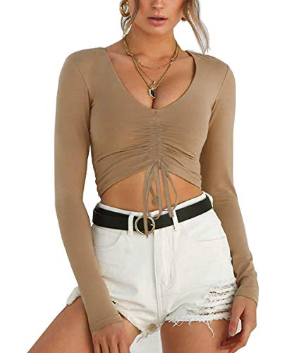 p V-Neck Front Tie Ruched Casual Crop Top Blouse (S, Khaki) ()