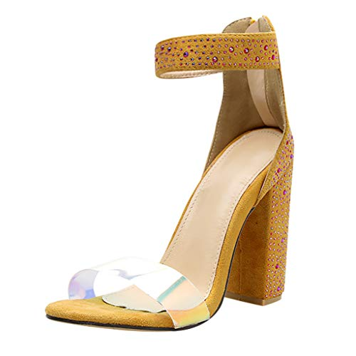 Benficial Womens Fashion Multicolor Crystal Pumps Stilettos Strap Buckle High Heel Shoes Yellow