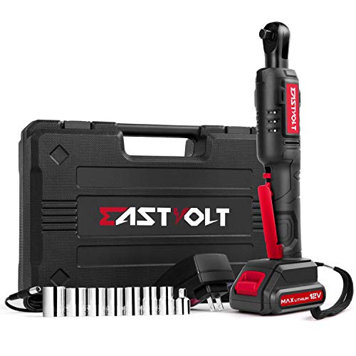 Eastvolt 12V Cordless Electric Ratchet Wrench Set, 3/8 Inch 35ft-lbs Power Wrench Tool Kit, with Fast Charger, 2.0Ah…