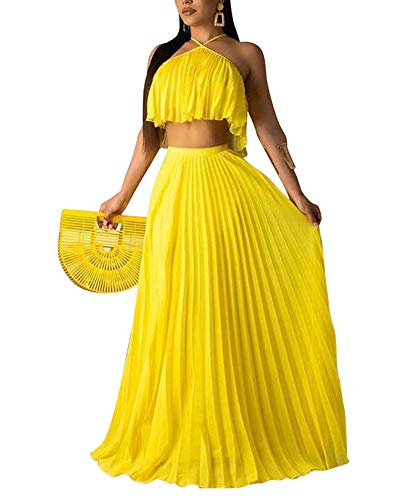 Womens Chiffon 2 Piece Outfits Maxi Dress Sexy Summer Sleeveless Crop Top Pleated Maxi Skirt Set Yellow - Chiffon Set Dress