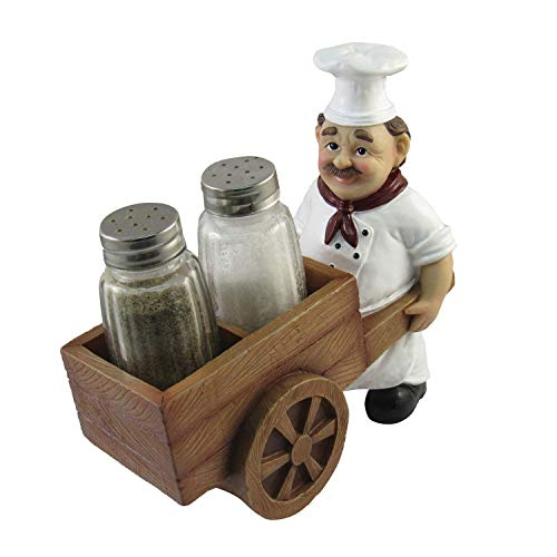 DWK Chef with Wheelbarrow Cart Salt and Pepper Shaker Set - Novelty Containers