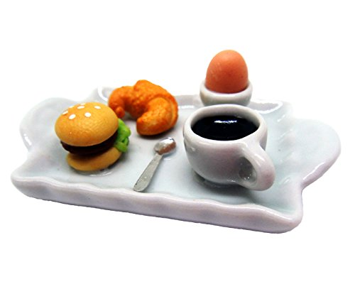 Dollhouse miniature Food,Tiny Food Collectibles (Breakfast berger, croissant,egg and coffee) (Halter Brush Train)