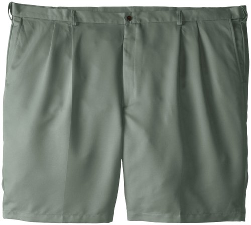 Haggar Men's Big-Tall Cool 18 Expandable Waist Pleat Front Solid Gabradine Short, Sage, 48 Green Pleated Shorts