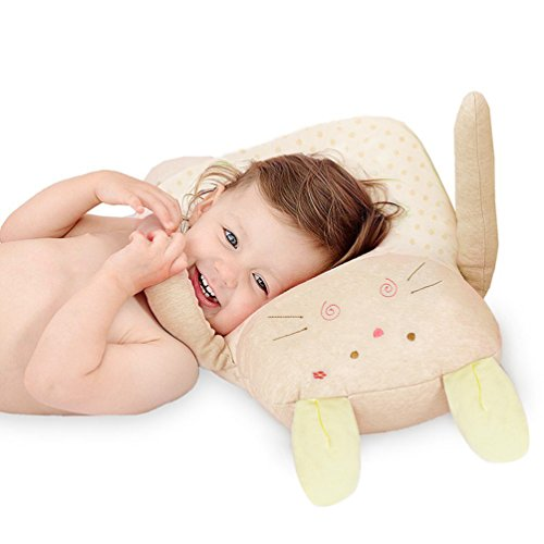 Syshion 100% Organic Cotton Toddler Baby Pillow toy (Cuddly Rabbit ) From Newborn to 7 Years Old (Yellow) ()