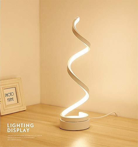 Cheap Spiral LED Table Lamp, Curved LED Desk Lamp, Modern Minimalist Design, 12W Warm White Light, Creative Acrylic LED Modeling Lamp Perfect for Bedroom Living Room (White)