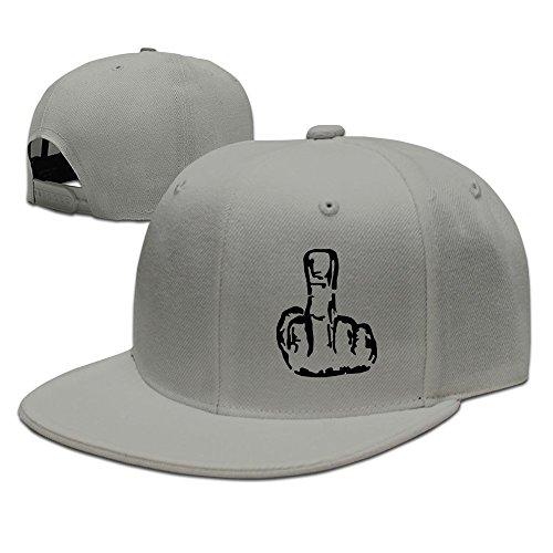 NUBIA The Swearing Middle Finger Hip Hop Hat Adjustable Snapback Flexfit Flat Hat Ash